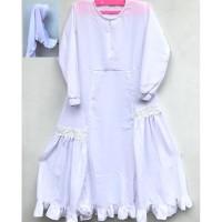 Gamis Anak Perempuan Muslimah Warna Putih + Jilbab Size 7,10,11