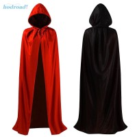 Jubah Hoodie Panjang Warna Hitam Merah untuk Kostum Halloween Pria /
