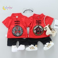 YESBABY 2pcs Baby Boys Girls Chinese Tang Suit T-shirt + Shorts Suit