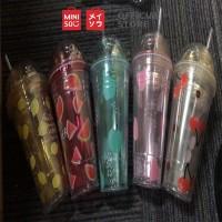 MINISO Seri Buah Dua Lapisan Plastik Wate, 480ml