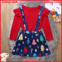 Ready Stock Baby Kids Girls Christmas Ruched T-shirt Suspender