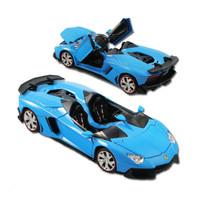 Diecast Metal Lamborghini Aventador J Skala 1:24 Miniatur Replika Car - Biru