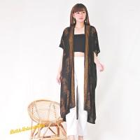 Batik Kimono Long Cardigan Outer. Batik Wayang Sogan