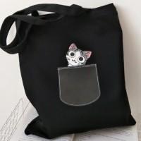 Tote Bag Kucing/Tote Bag kocheng/Tote Miaw - Putih