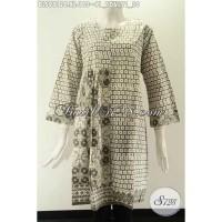 Blouse Batik Tanpa Krah Lengan 7/8 Resleting Jepang Size XL BLS9812C