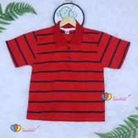 Kerah Salur T-Shirt Anak Laki uk 8-10 Tahun / Kaos Atasan Baju Adem