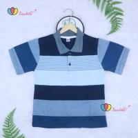 Kerah Salur T-Shirt Anak Laki uk 1-2 Tahun / Kaos Atasan Baju Adem