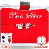 Anting tusuk love 1 permata perak silver 925 lapis emas putih