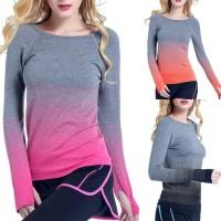 Kaos Sport T-shirt Baju Lengan Panjang Olahraga Gym Fitness Wanita