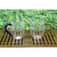 TEA POURING GLASS - H-14 BLUE/YELLOW