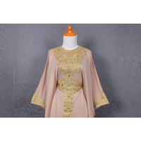 Kaftan Gamis Katun Bordir SM Warna Coklat Susu Caftan Muslim Dress