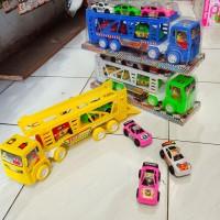 mainan mobil truck trailer bawa mobil isi 5 mobil-truck kontruksi