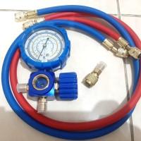 testing manifold AC paket isi freon R32 R410 R22 selang dan adaptor