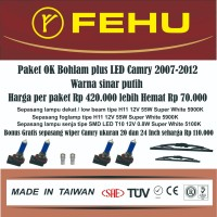 Paket Ok bohlam Fehu plus LED untuk Camry 2.4 2007-2012 Sinar putih