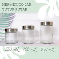 Hermetico Jar Tutup Stainless Putar 550 mL | Toples Kaca | Jar Kaca