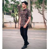 Kemeja Batik Pria Songket Pendek Hitam Original