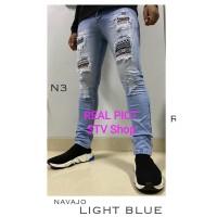 Celana Panjang Pria / Cowok Soft Jeans Ripped / Sobek