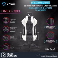 ONEX GX3 Premium Quality Gaming Chair Kursi - Putih