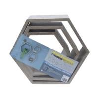 Masterspace Set Rak Dinding Hexagon 3 Pcs - Kayu