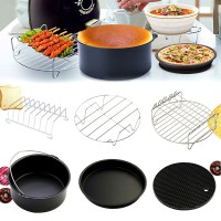 6Pcs/Set Alat Masak Panci+Loyang Pizza+Kue+Rak Pendingin 8 Inci