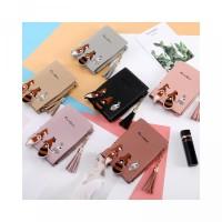 Line Wallet Tassel Fold Zipper 2 Fresh Cute Embroidered Purse Card Coi