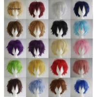Wig / Rambut Palsu Pria / Wanita Model Lurus Pendek Multi Warna