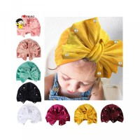 Aksen Turban IZZ Topi untuk Bayi Perempuan Pita Elastis Mutiara