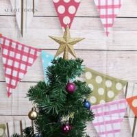 Ornamen Desain Bintang Berkilau untuk Dekorasi Pohon Natal