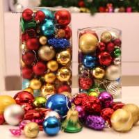 1 Bucket Gantungan Bola Warna-Warni untuk Dekorasi Pohon Natal /