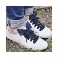 Pita Olahraga Sutra Satin Sepatu Flat untuk Bahan dengan Sneakers Tali