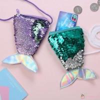 Wish Dompet Koin Mini Sequin Bentuk Mermaid untuk Anak Perempuan