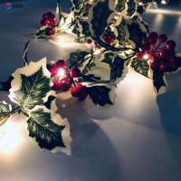 Lampu String 20 LED 2M Warna Merah Berry untuk Dekorasi Pohon Natal