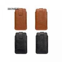 Handphone Holster Leci PU Tas Kulit Bahan Inci untuk 4