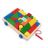 Balok Kayu Mobil Kayu Gerobak Kereta Mainan Edukasi Anak Mainan Kayu