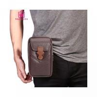 Uang untuk Pria Pinggang Handphone Resleting dengan Kulit Polos Tas Ba