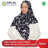 Hijab Segitiga Instant Wanita Pattern Bunga Daun by Dena Hijab - Navy