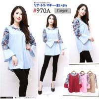blouse katun lengan terompet kombinasi batik modern bahan tebal simple