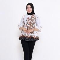Blouse Batik Kantor Bambu Putih / Batik IFA / Atasan Wanita Blus