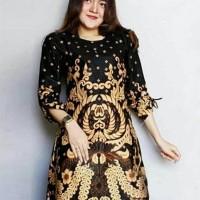 Tunik Blouse Dress Batik Wanita Bunga Gurita Sogan Lengan Serut -