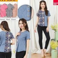 blouse batik cassie denim kemeja aksen kancing Terjamin