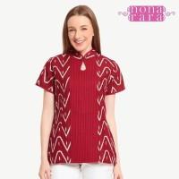Baju Blouse Batik Wanita Modern Nona Rara, Lipit Garut T0338 - Sesuai