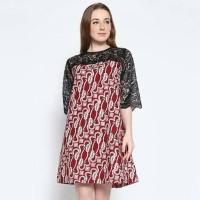 Batik Dress - Maroon, XL Terjamin