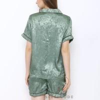Sleepcode Piyama Satin Velvet Dusty Green Baju Tidur Wanita Set Celana