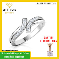 cincin berlian Evellyn ring natural diamond emas 18k 7 hari Fvvs