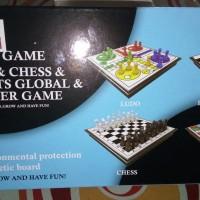 mainan game 4 in 1 Ludo,chess,ular tangga,dan draught global