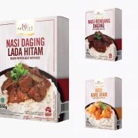 Nasi Daging Lada Hitam, Nasi Rendang Daging, Nasi Kare Ayam