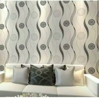 wallpaper sticker wallpaper dinding mimimalis polkadot hitam putih