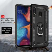 Calandiva Samsung A20 A30 Hard Case Casing Ring Army Hybrid Kickstand