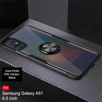 Calandiva Samsung A51 Hard Case Casing Transparent Ring Kickstand