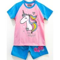 Size 1-10 Setelan Piyama Pendek Anak Karakter Unicorn Magical Pink - Size 1